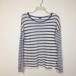 Vince White Linen Blue Striped Scoop Neck Tunic S
